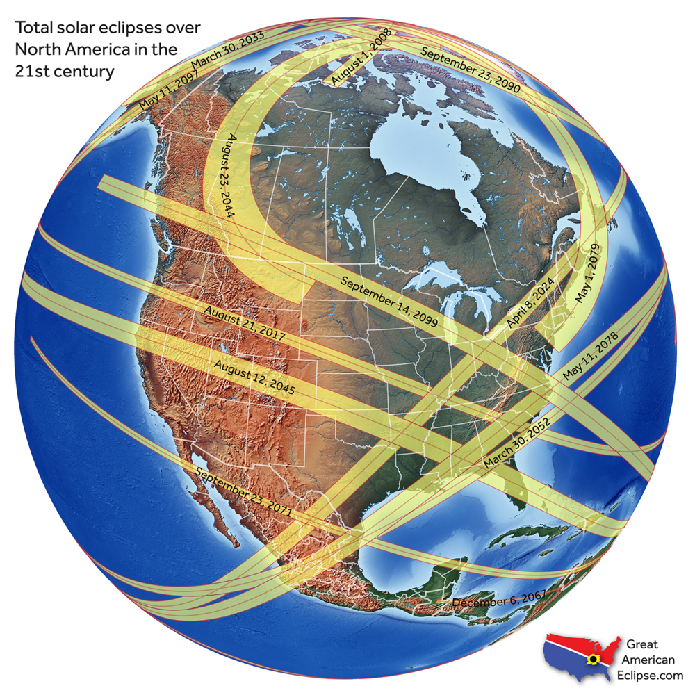 An image of the earth with overlaid yellow bands, each band depicting the path of an eclipse that will occur in the 21st century.