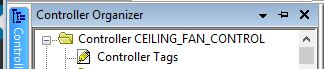 In RSLogix 5000, Controller Tags shown within the Controller Organizer Window.