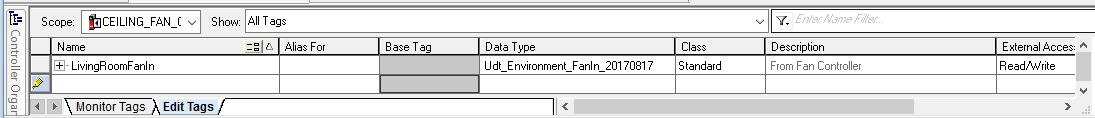 Te new tag created in RSLogix using the new UDT. The UDT description comes through as the tag description.