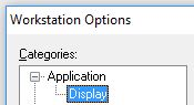 In RSLogix 5000, in the Options... menu, the Display category is shown as a subcategory to the Application category.