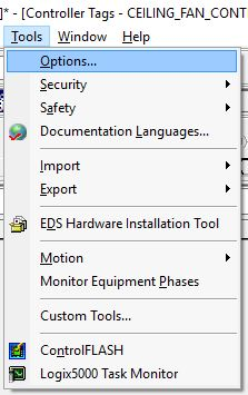 Options... on the Tools menu within RSLogix 5000.