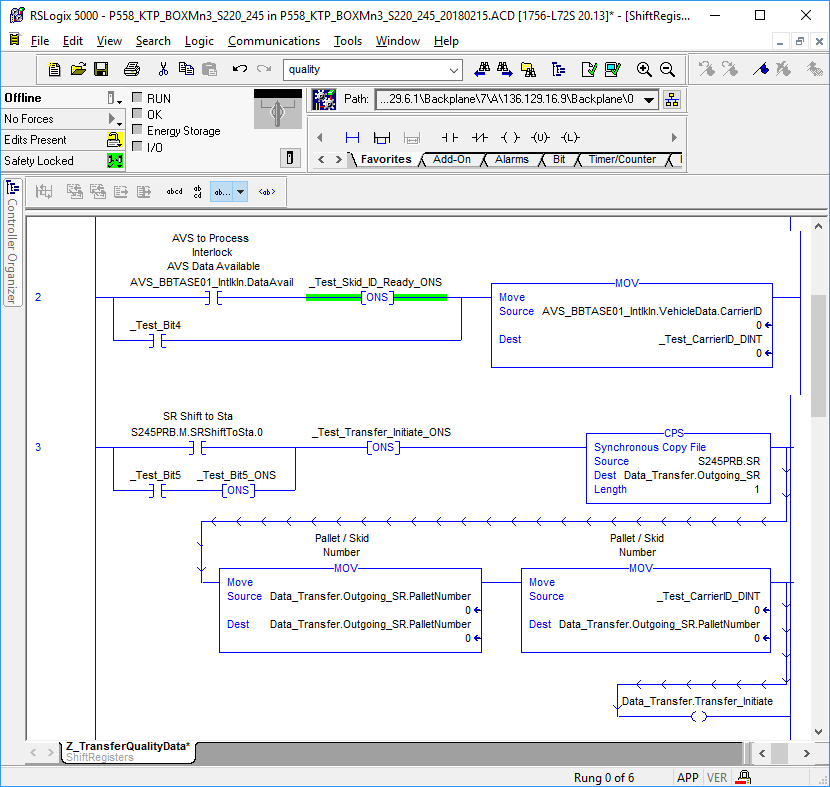 An example of ladder logic depicted within RSLogix 5000, PLC programming software for Rockwell Automation equipment.