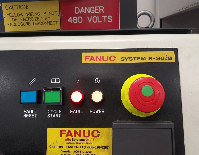 An image of the front panel of a Fanuc R-30iB controller. You can see the Fault Reset, Cycle Start, and E-Stop buttons, along with the Fault and Power indicator lights. Used as the header image for a post on how to backup and restore a Fanuc R-30iB controller.