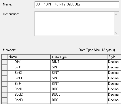 A User-Defined Data Type with 1 DINT, 4 SINT's, and 32 BOOL's in RSLogix 5000.