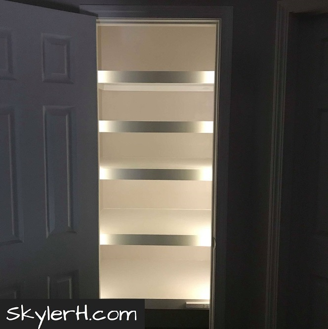 My finished LED lighting project. The inside of my linen closet is illuminated by the LED light strip I extended by cutting and soldering.