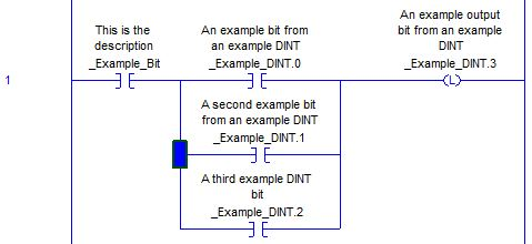 An example of a branch level selection within a branch in RSLogix 5000. This tip focuses on understanding the difference between different portions of a branch structure.