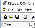 An RSLogix 5000 project that is not online with the processor.