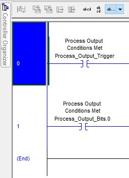 A rung selected in Rockwell Automation's RSLogix 5000 ladder editor.