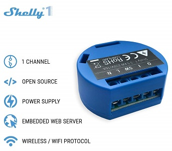An image of the Shelly 1, a wireless smart relay.