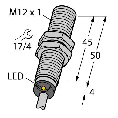 """A """"barrel"""" prox that can be threaded into a tapped hole. Both inductive and capacitive sensors come in this and other form factors."""