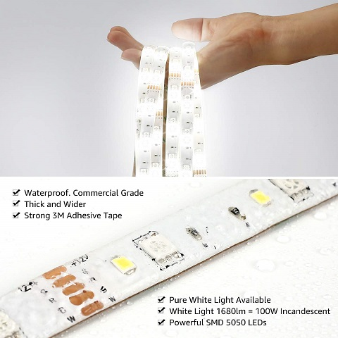 LE LampUX WiFi Smart LED Strip. This LED lightstrip's selling point is that for a low cost, the LED strip outputs a lot of light - it's about as bright as a 100w incandescent bulb.