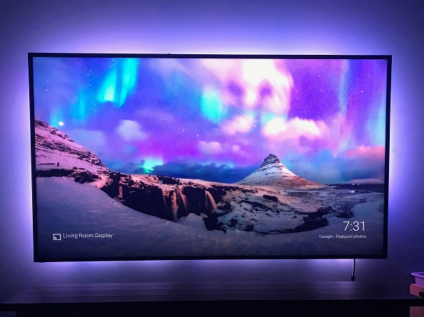 Bias lighting for a large television display.