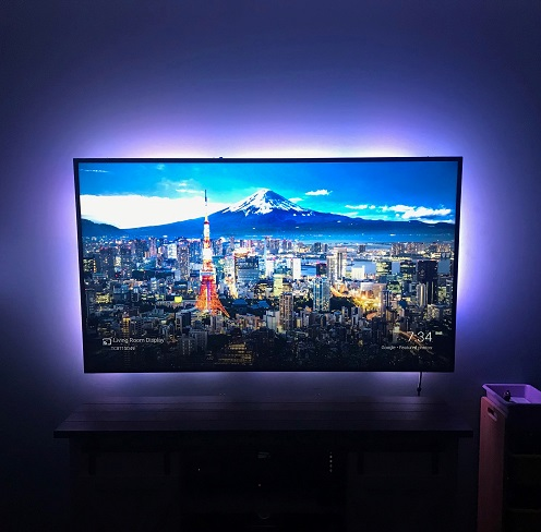A smart LED lightstrip used as television bias lighting.