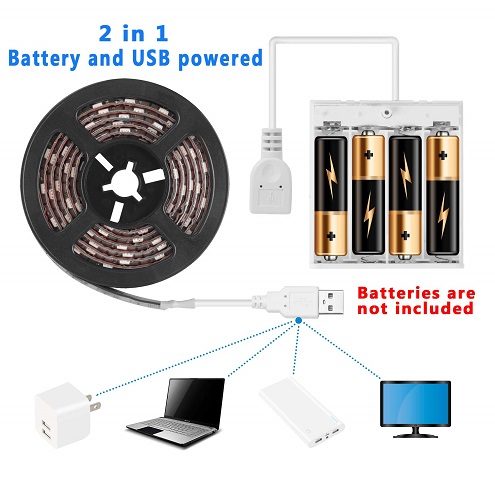 The Haliang 2 meter LED strip light can be powered by either the included battery pack or by USB. In other word, you can plug this light strip into your TV, computer, USB wall outlet, or into a rechargeable battery block.