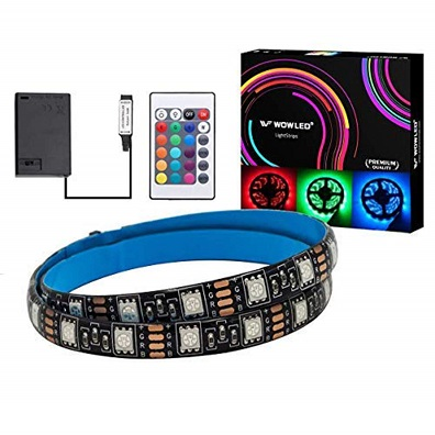 The WOWLED RGB LED Lighting Strip comes with a 1m LED strip, a battery box, and a remote control. The 24-key remote allows you to control the color or pattern on the LED strip.