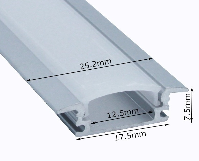 The dimensions of the LED channel from its product listing. Using these dimensions, you can determine the appropriate size of the router bit that you will need to make a hole for the channel in your shelving. When upgrading your shelving with built-in LED light strips, purchasing the right router bit will ensure a clean channel installation.