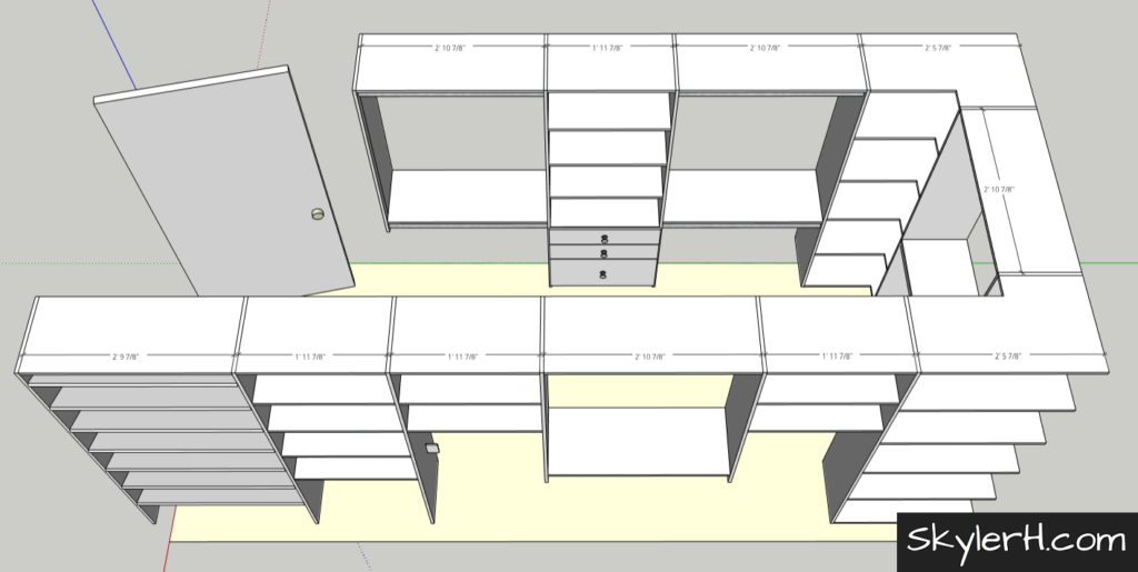 An image of a 3D model of my walk-in closet remodel project. The model was made using SketchUp, a free online 3D modelling app. This 3d model was used to help plan how I would upgrade my shelves with built-in LED lighting.