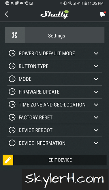 The Settings screen for a Shelly device. We'll be using this screen to set the Button Type for our Shelly 2.5.