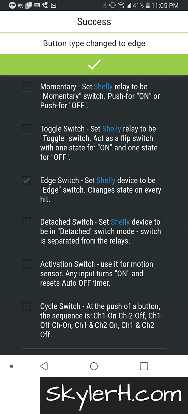 "When automating two switches in your home using 1 Shelly 2.5, use the Edge Switch setting for your device's Button Type. This makes it so that whenever you operate the light switch, the Shelly turns the light on or off. This allows you to control your lights via your smart home automation without losing the ""basic"" functionality of the light switches."