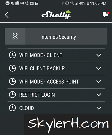 The Shelly Cloud settings are found on the Internet/Security page within the Shelly device's page in the Shelly app.